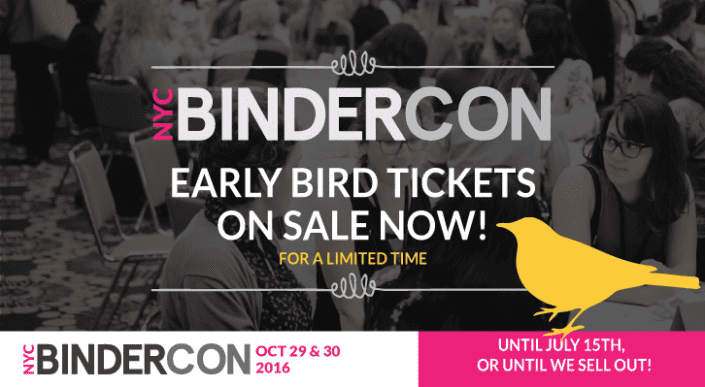BinderCon Early Bird Tickets graphic 2016