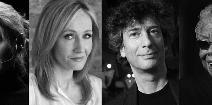 best-selling-authors-JK Rowling, Elizabeth Gilbert, Neil Gaiman, Maya Angelou